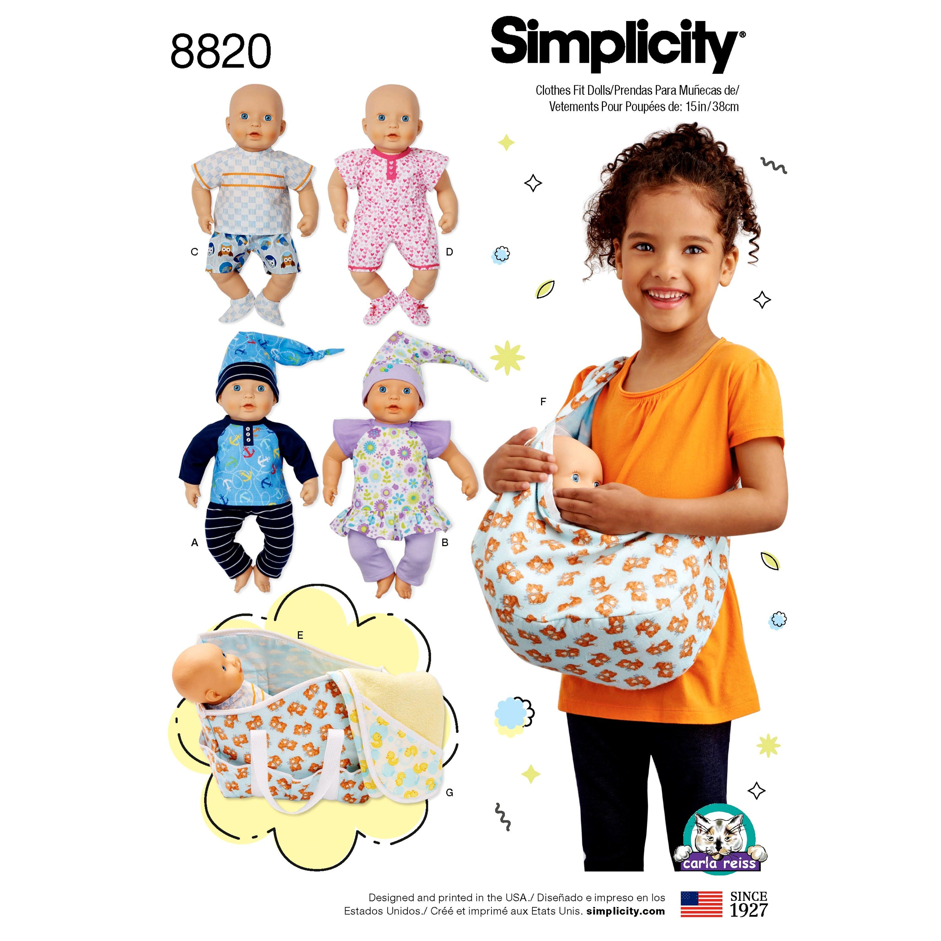 Sewing Pattern 15 inch Baby Doll Clothes Pattern, Baby Doll Sling ...