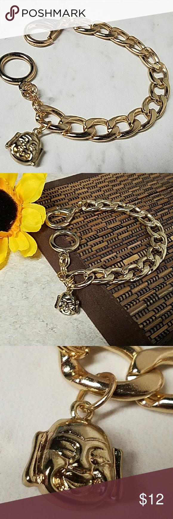 Gold buddah head charm thick gold bracelet boutique pinterest