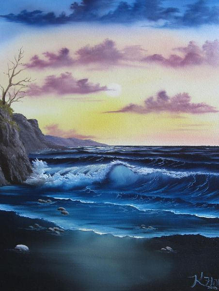 Bob Ross Seascape Sunset Art Ideas Bob Ross Bob Ross Paintings