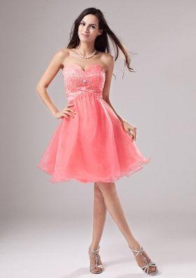 Sweetheart A-Line Organza Beading Mini-length Prom Dress Watermelon Item ID #:DR1HNPD230