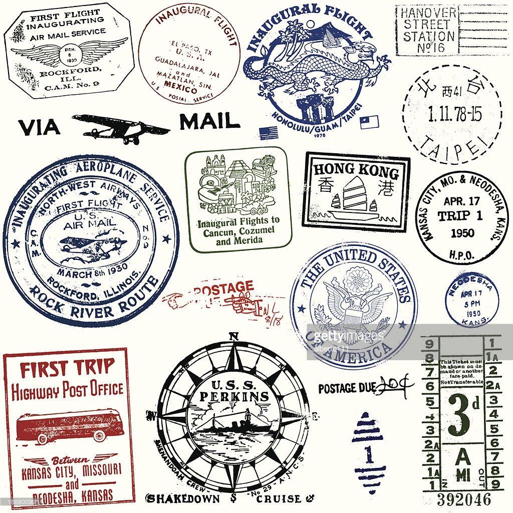 Arte vectorial   Vintage postal y sellos de viajes  be26fabf1863