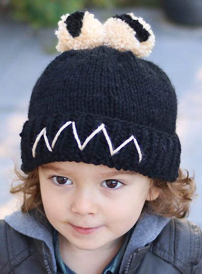 Knitting Pattern For Cute Monster Pompom Hat Designer Gina Michele
