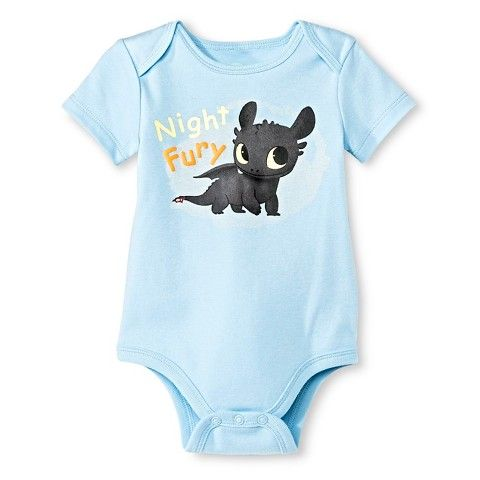 DreamWorks Baby Boy Blue Short Sleeve Cotton Night Fury Toothless Print Bodysuit