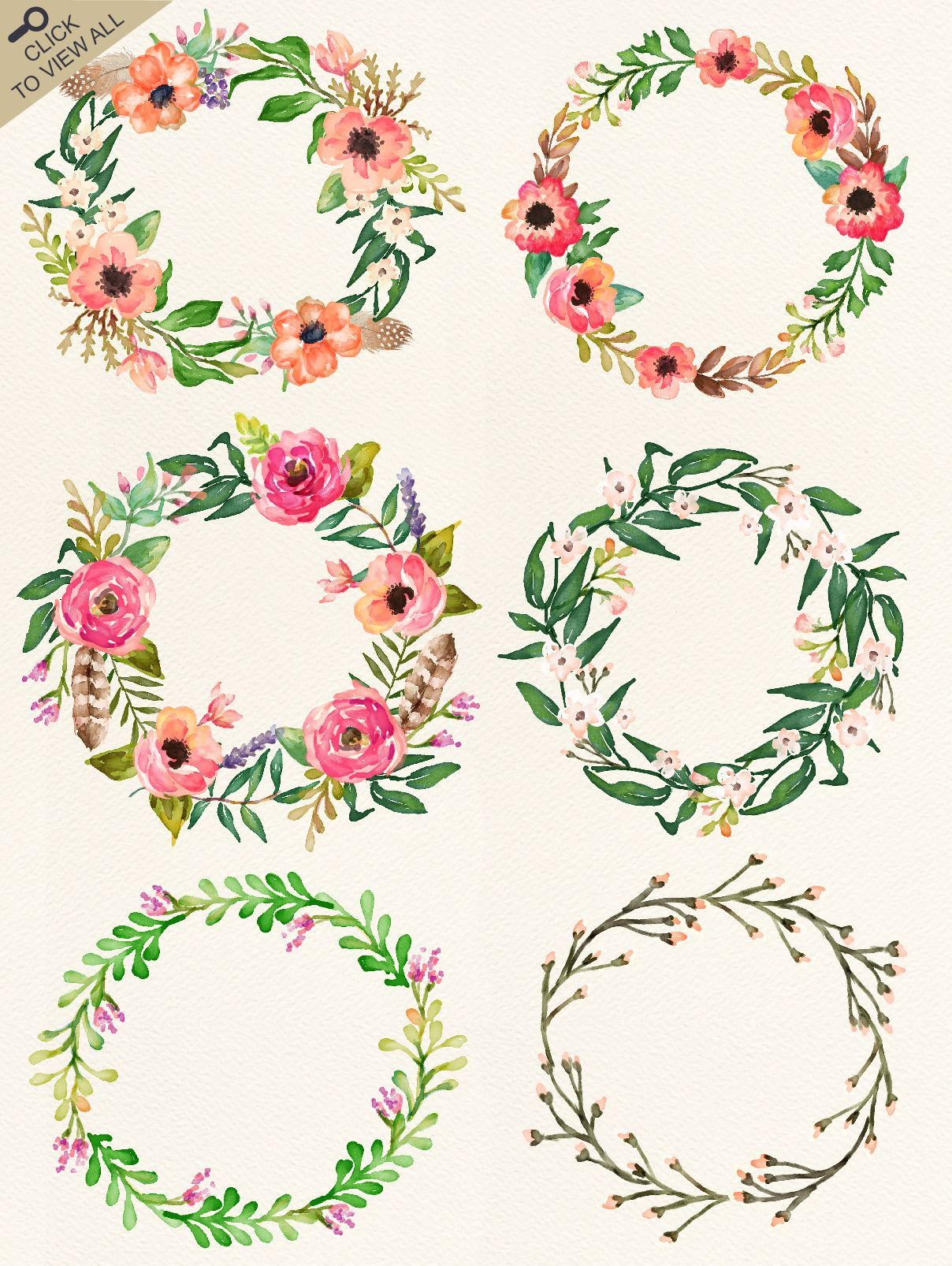 Watercolor flower diy pack vol by graphic box on