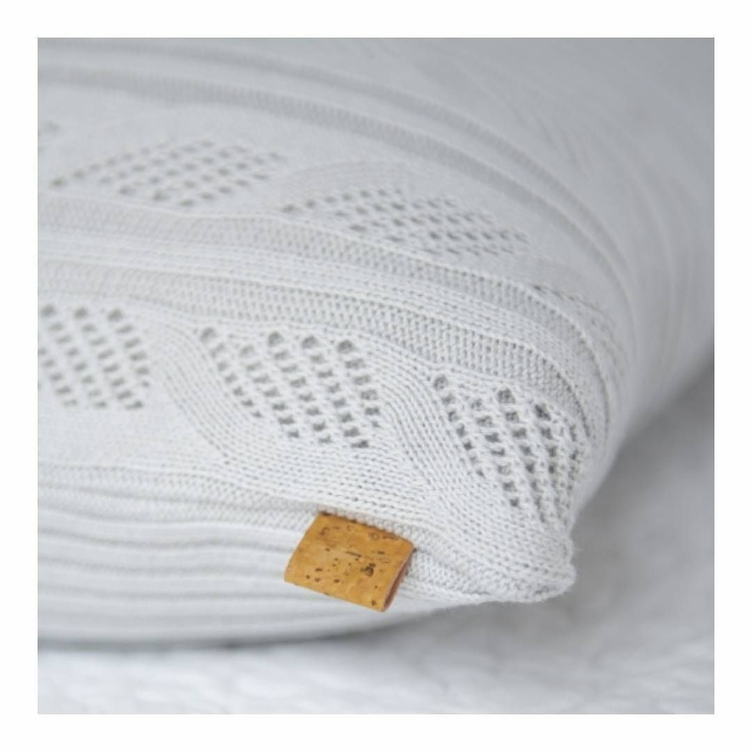 Knitted Ajour cushion 50X50 in 100% Organic Cotton, available in 5 permanent colors