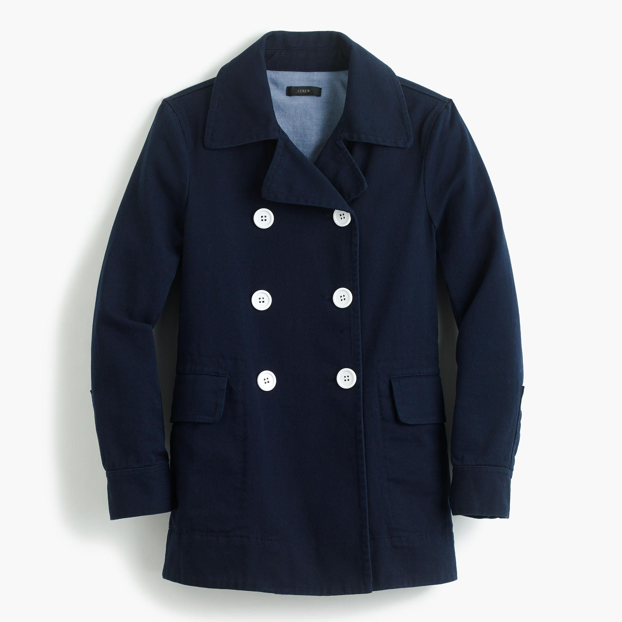 J.Crew Womens Peacoat In Heavyweight Cotton Twill (Size 000 ...