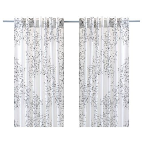 IKEA Hedda Blad Pair Of Curtains 2 Panels Semi Sheer White Black Leaf New NIP