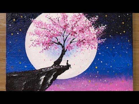Cherry Blossom Under Moonlight Acrylic Painting Technique 459 Youtube Cherry Blossom Painting Acrylic Cherry Blossom Painting Cherry Blossom Art