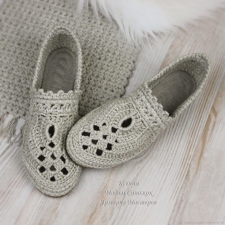7de203f12 Купить Туфли Лодочки льняные вязаные в интернет магазине на Ярмарке Мастеров