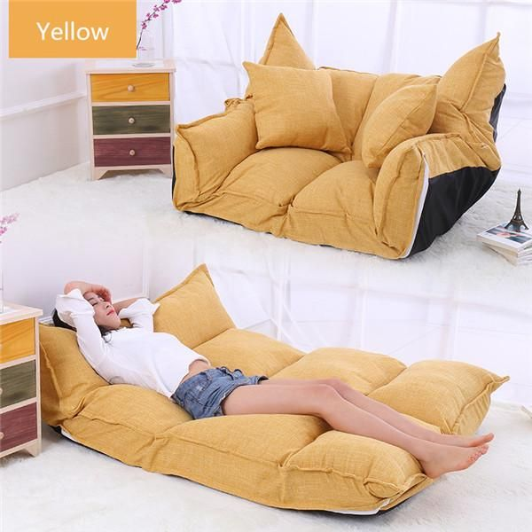 2018 Linen Fabric Upholstery Adjustable Floor Sofa Bed Lounge Sofa Bed Floor Lazy Man Couch Living Room Furniture Sofa Bed Lounge Couches Living Room Furniture