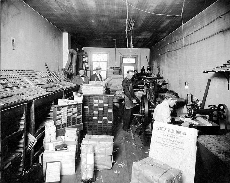 Unidentified printing office interior, n.d. Office