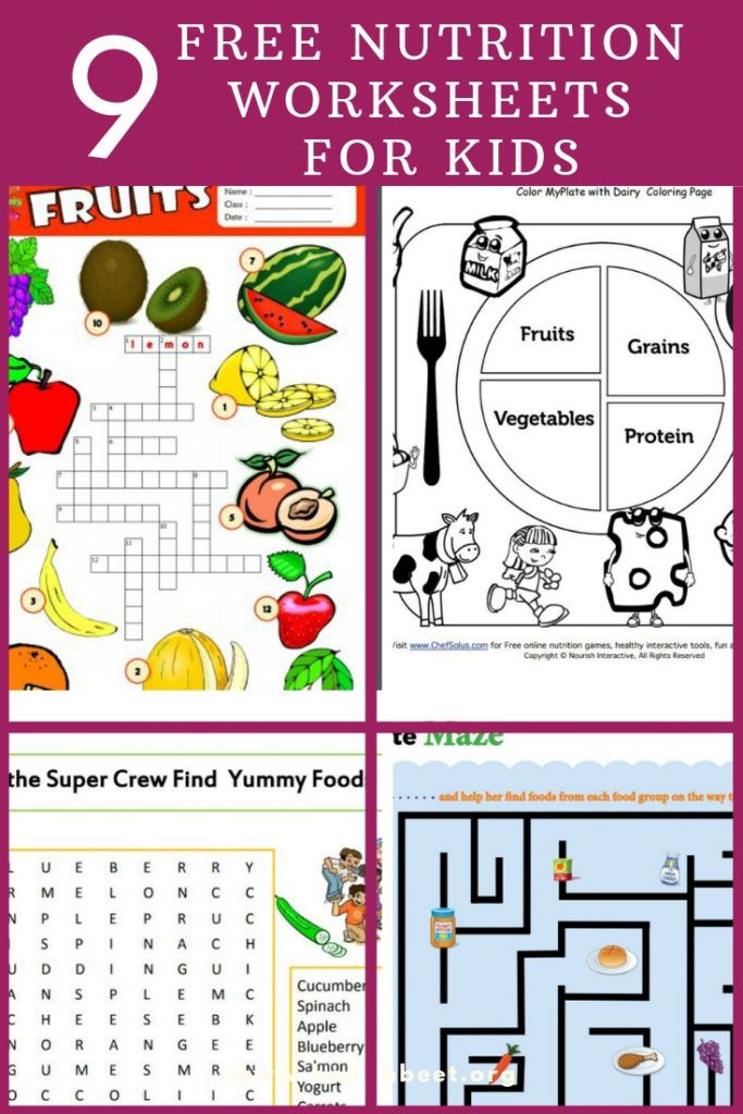 9 Free Nutrition Worksheets for Kids #kidsnutrition