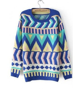 New Blue Pattern Print Long Sleeve Pullovers Sweater