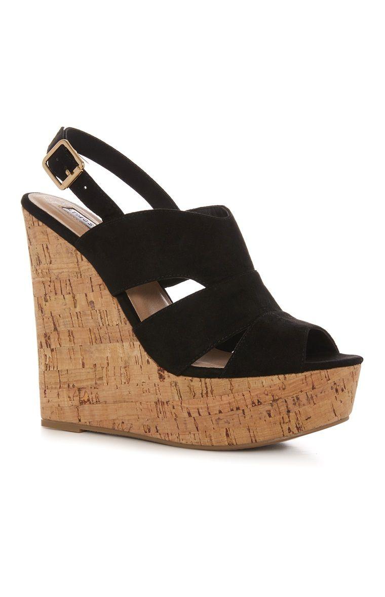 6760fa8803 Primark - Black Cork Wedge Sandal £14.00 | Footwear | Wedges, Wedge ...