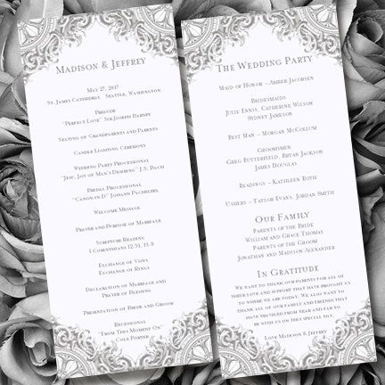 Wedding Ceremony Program Template Vintage Gray By Weddingtemplates 10 00