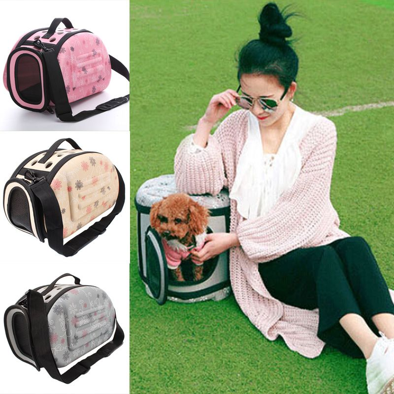 Pet Carrier For Dogs Cat Folding Cage Collapsible Crate Handbag Plastic Carrying Bags Pets Supplies Sac