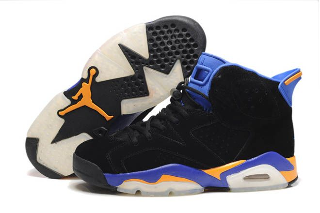 76b0d93fd5cd Mens Black and Royal Blue Orange Suede Nike Air Jordan 6 Basketball Shoes