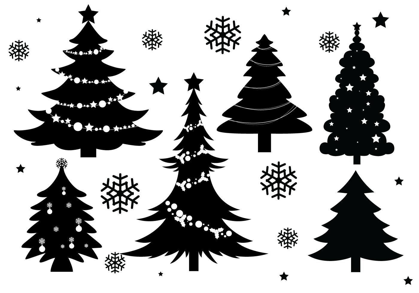 Christmas Tree Silhouette Vectors Christmas Tree Silhouette Silhouette Christmas Ornaments Silhouette Christmas
