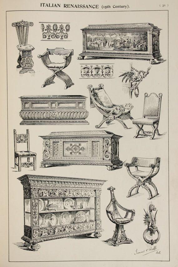 Italian Renaissance Furniture Designs Large Antique Black White Print Interior Design Arts An Diseno Interior Italiano Muebles De Estilo Diseno De Muebles