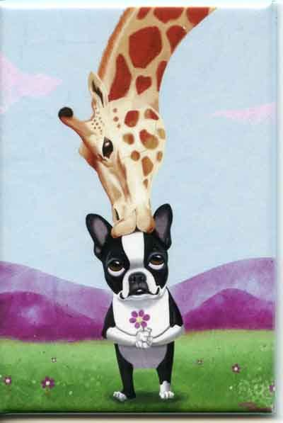 Boston Terrier giraffe Dog Art Magnet by rubenacker on Etsy