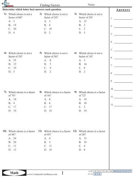 Factor Worksheets 4th Grade Factors And Multiples Worksheets Finding Factors