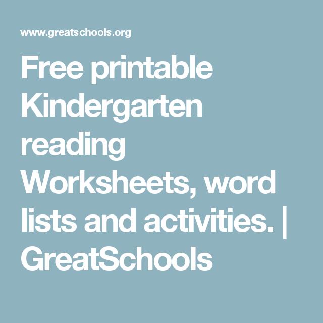 Free Printable Kindergarten Reading Worksheets Word Lists And