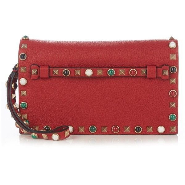 Valentino Rockstud Rolling leather clutch (602.520 HUF) ❤ liked on Polyvore featuring bags, handbags, clutches, red, leather handbags, valentino handbags, red leather wristlet, red handbags and leather clutches