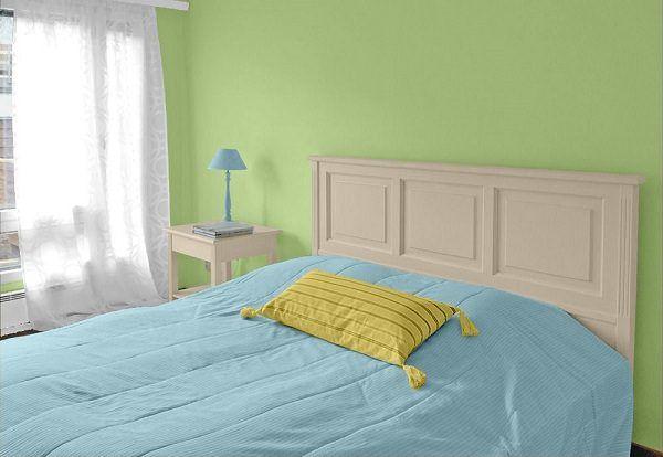 Farbgestaltung für ein Schlafzimmer in Grün, kombiniert ...