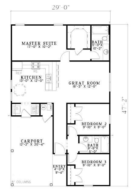 House Plan 110 00652 Small Plan 1 070 Square Feet 3 Bedrooms 2 Bathrooms Floor Plan Design House Plans Ranch Style House Plans