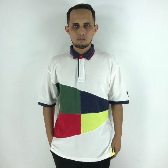 2a8d525f0 Vintage TOMMY HILFIGER Polos Shirts XLarge 90's Hip Hop Tommy Sailing Gear  Multicolor Hilfiger New York Polos Shirts Size XL