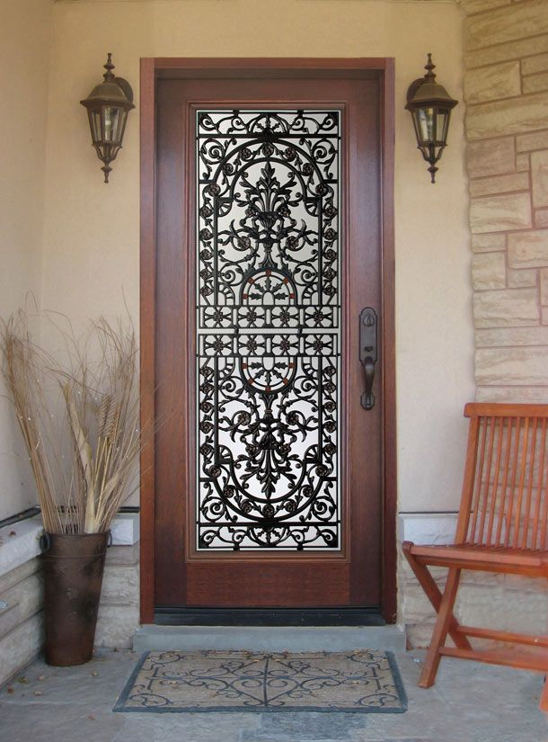 Lovely Front Doors Wrought Iron And Wood
