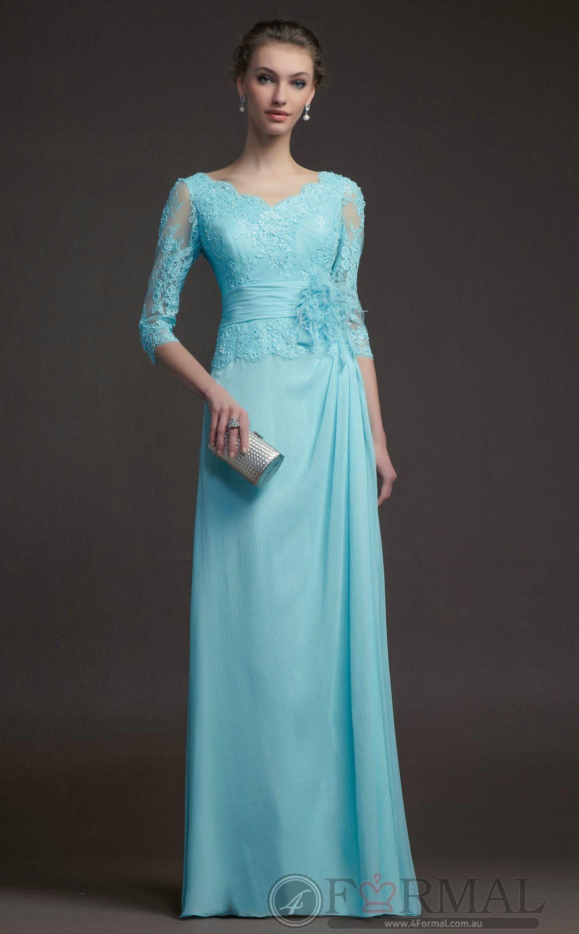Green lace long semiformal vneck bridesmaid dress at formal
