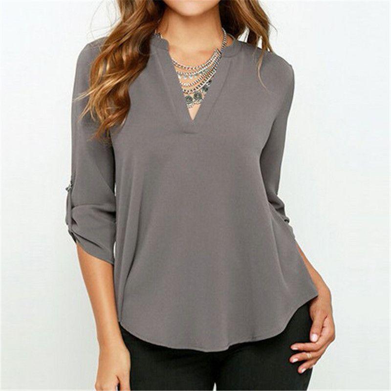 9eb9cc062dcc Zanzea New Blusas Sexy decote em V Chiffon mulheres blusa estilo OL manga  longa casuais sólidos camisas Tops Plus Size sml XL 2XL 3XL em Blusas de  Roupas e ...