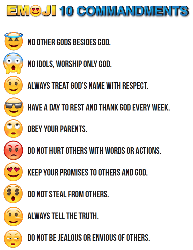 picture regarding 10 Commandments Printable titled Emojis 10 Commandments Printable Church 10 commandments