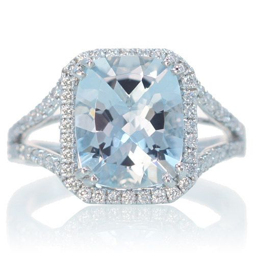 14K White Gold 11x9 Cushion Cut Aquamarine Engagement Ring Diamond Halo  Split Shank Engagement Wedding Anniversary