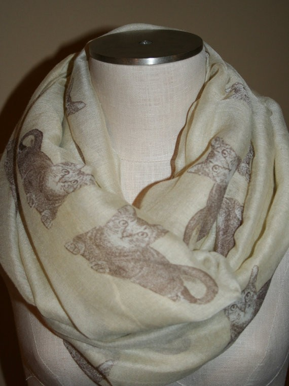 Cat Infinity Scarf Brown Kitty Cat Print Scarf Chunky