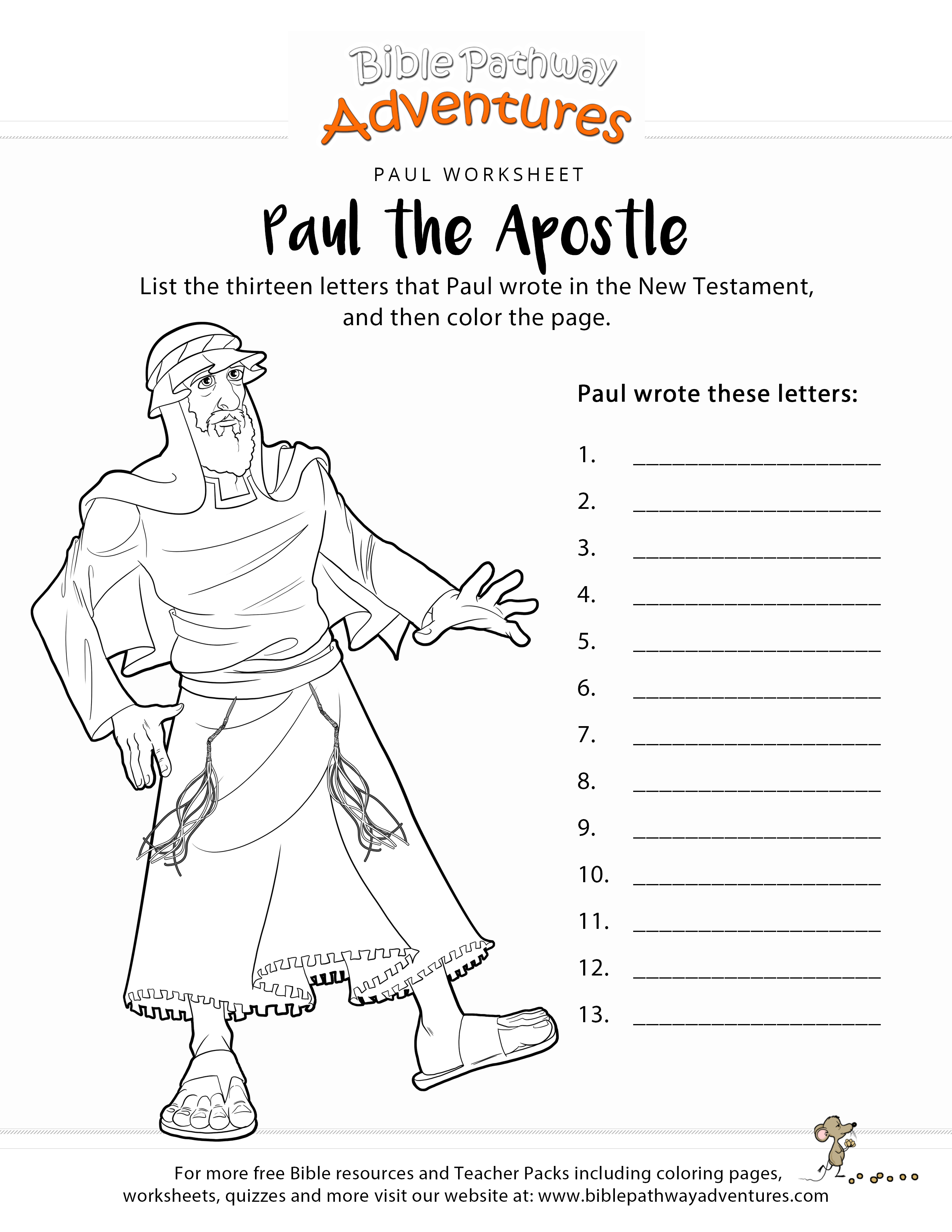 Paul The Apostle New Testament Worksheet