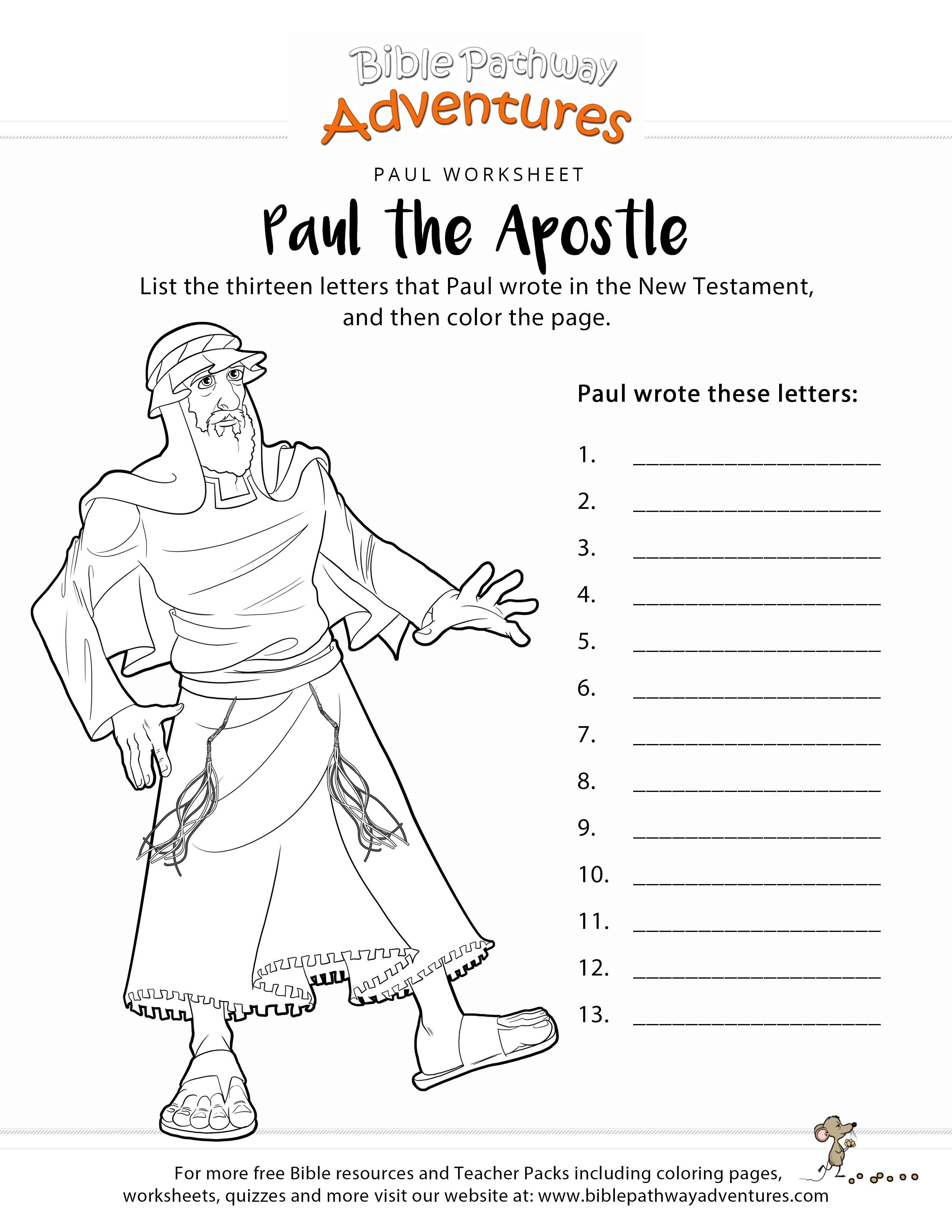 Paul The Apostle New Testament Worksheet