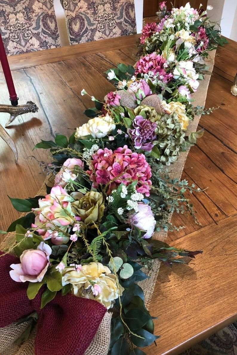 Silk Flower Garland Luxury Floral Table Runner Spring Summer Garland Hydrangeas And Peonies Garland Rustic Floral Decor In 2020 Floral Table Runner Rustic Floral Decor Flower Garlands