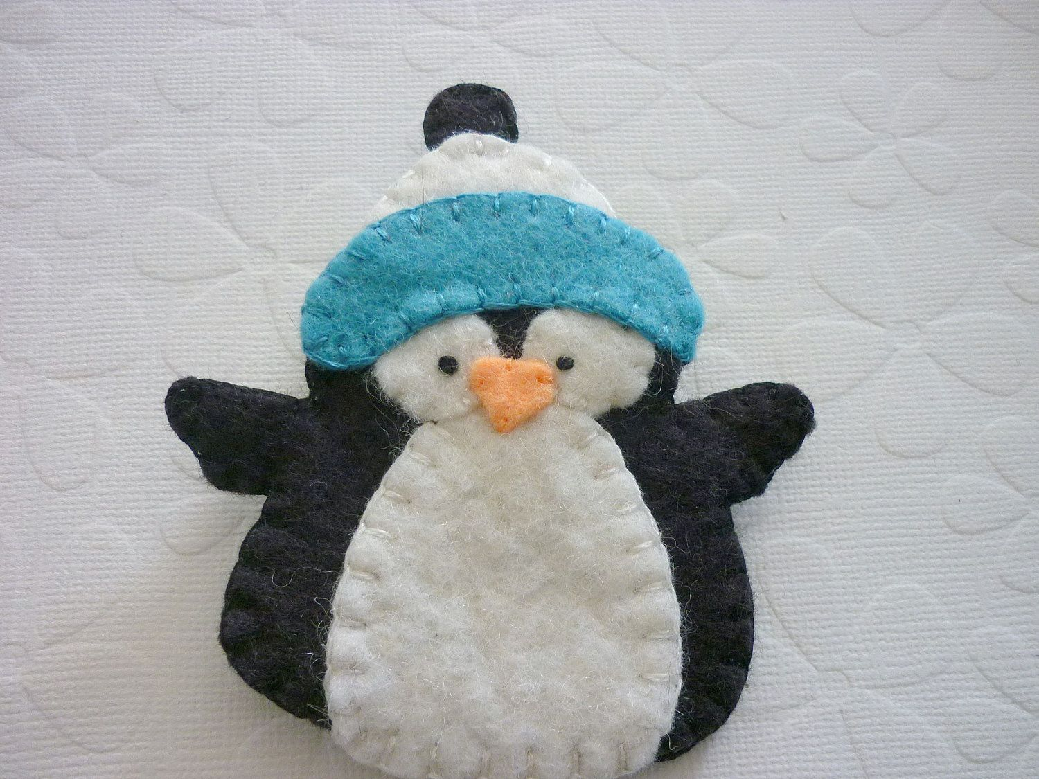 Felt Penguin Brooch Pin With Fuzzy Winter Hat