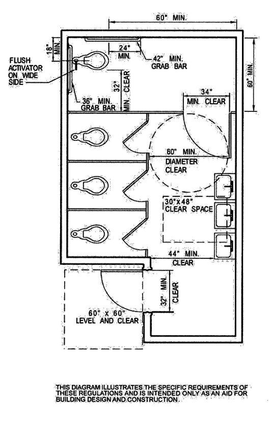 Public water closet dimensions google search arch and for Bathroom sample layouts