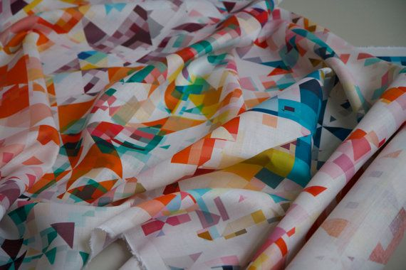 Colourful Geometric Print Linen Fabric Northmore by FlockStudio, £70.00
