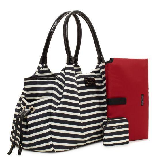 Kate Spade Designer Diaper Bags Nylon Stripe Stevie Baby Bag