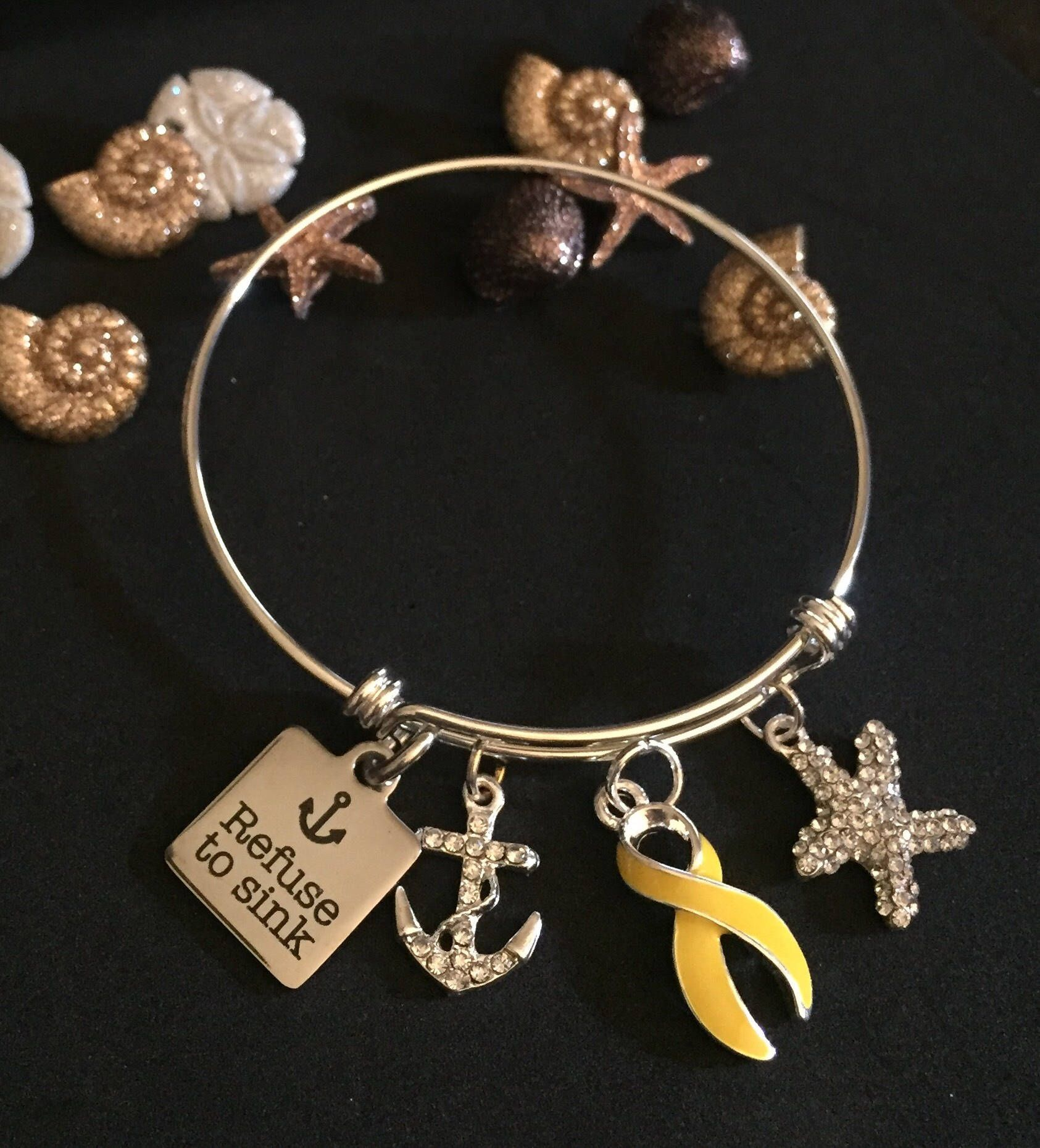 uk endometriosis bracelet bifida amazon awareness jewelry dp jewellery yellow spina bling co