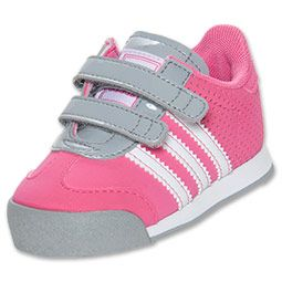 Girls\u0027 Toddler adidas Samoa Leather Casual Shoes | FinishLine.com | Pink/ Grey