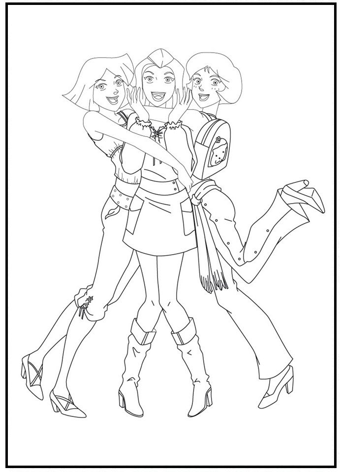 Totally Spies Hugging Closely Coloring Picture For Kids Coloring