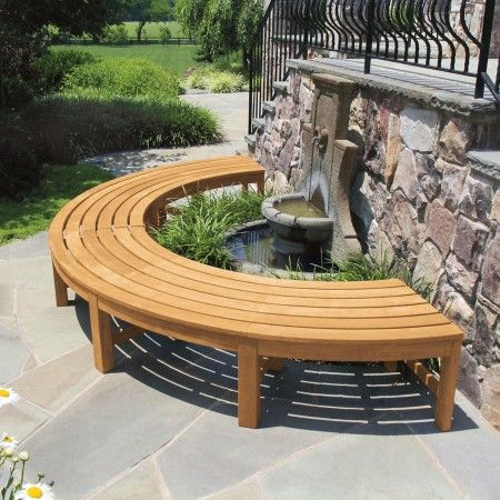 Circa 2 Pc Half Circle Backless Bench Teak Garden Bench Garden Furniture Luxury Garden