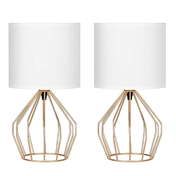 Amazon Com Haitral Gold Table Lamps Set Of 2 Minimalist Table
