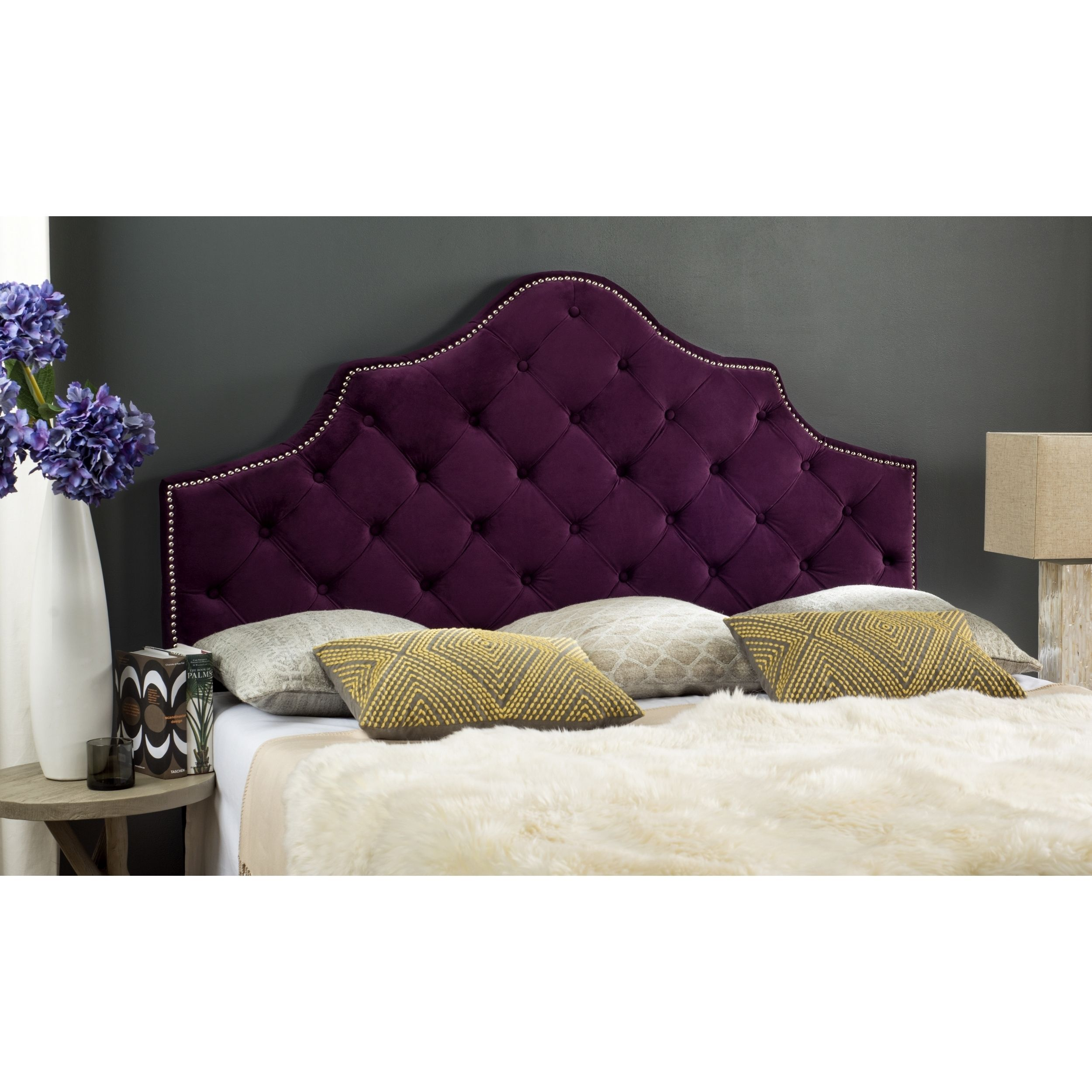 Design Purple Tufted Headboard 188 99 full furnishings that outfit the hotel suite thats a bet i could cover mine to look like this safavieh arebelle steel blue tufted headboard silver nail head queen