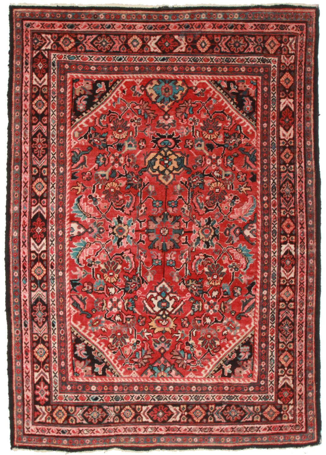 Best Black Border And Rust Red Background Vintage Persian Mahal 400 x 300